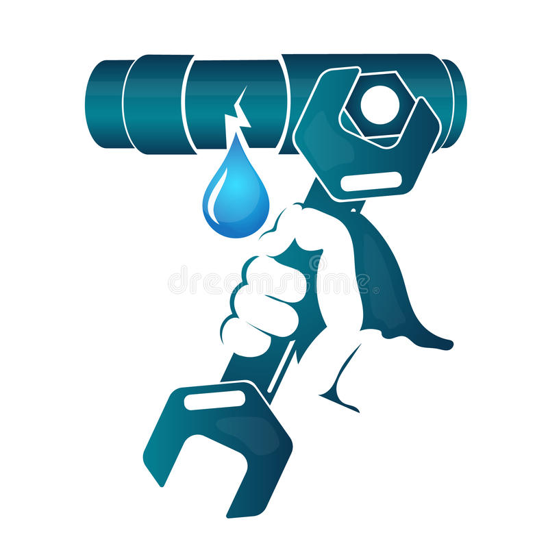 Repair of water pipe royalty free illustration