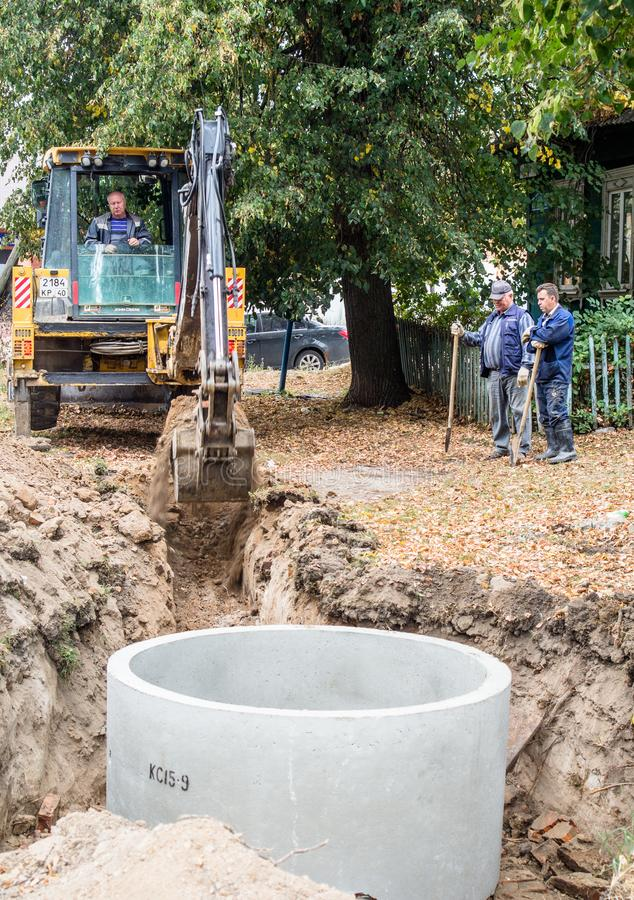 Repair of water supply networks in the Kaluga region of Russia. In Kaluga region active works on repair of water supply networks in small towns and villages stock photos