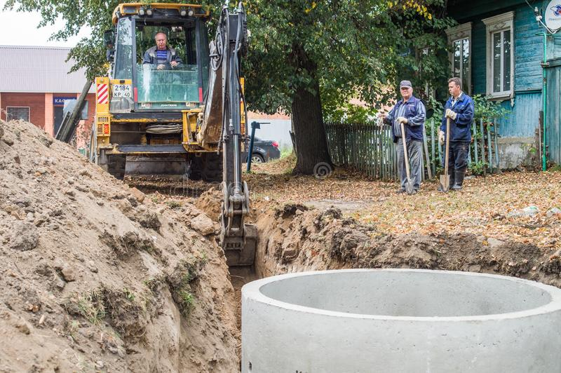 Repair of water supply networks in the Kaluga region of Russia. In Kaluga region active works on repair of water supply networks in small towns and villages stock image