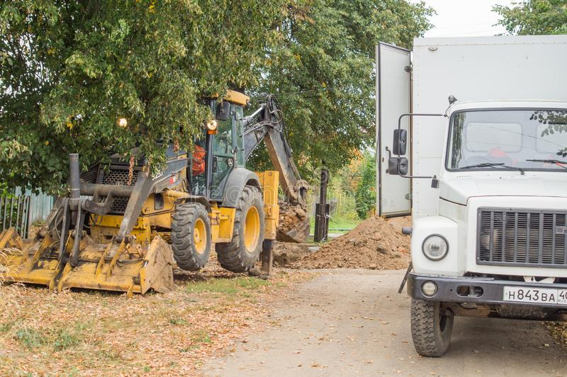 Repair of water supply networks in the Kaluga region of Russia. In Kaluga region active works on repair of water supply networks in small towns and villages stock photography