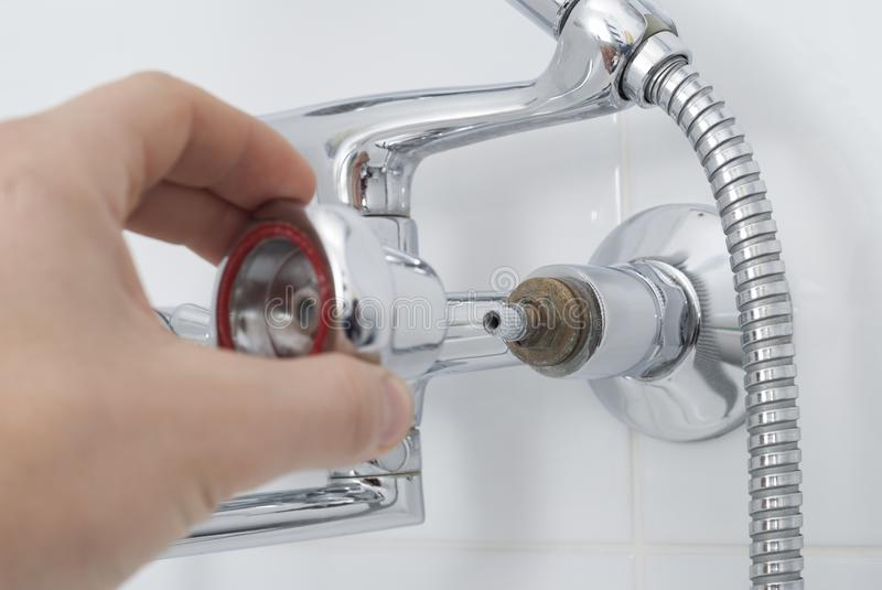 Repair of a water tap stock photo. Image of fixing, white - 107204306