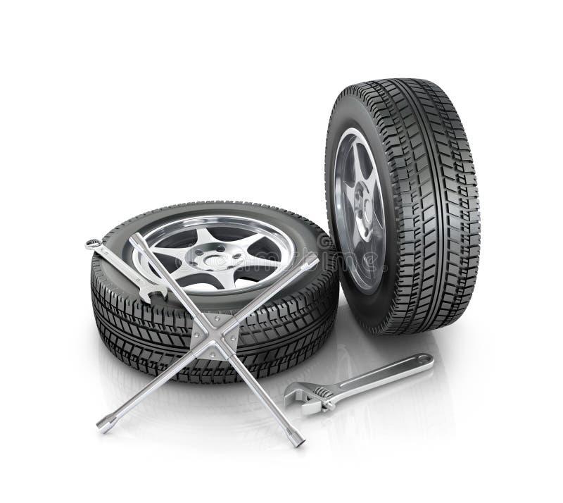 Repair wheels and cars stock illustration