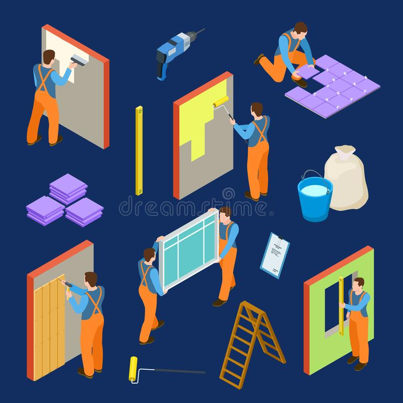 Repair workers and tools isometric vector set vector illustration