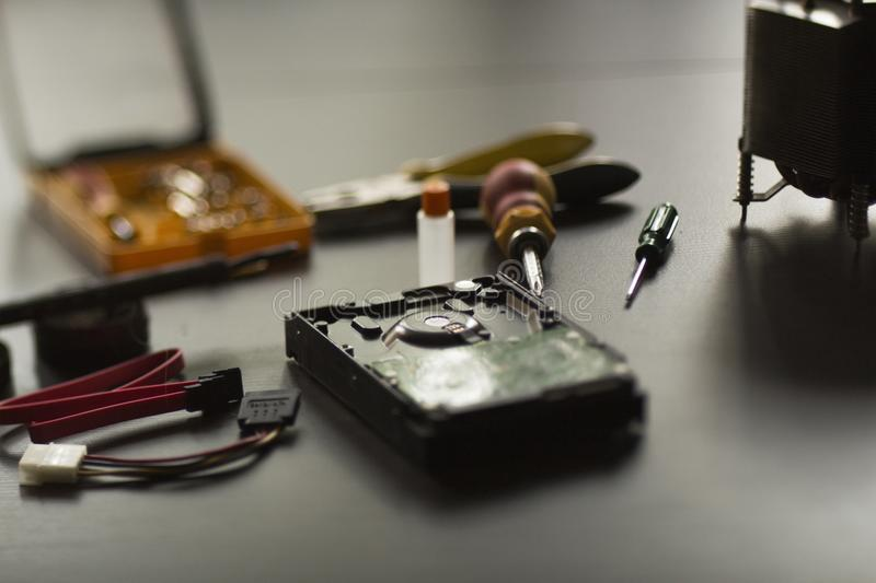 Repair hard disk. Repaird hard disk on workplace royalty free stock photo