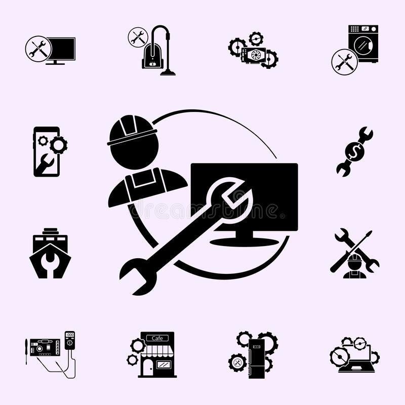 Repairer, wrench, TV repair icon. Repair icons universal set for web and mobile. On color background vector illustration