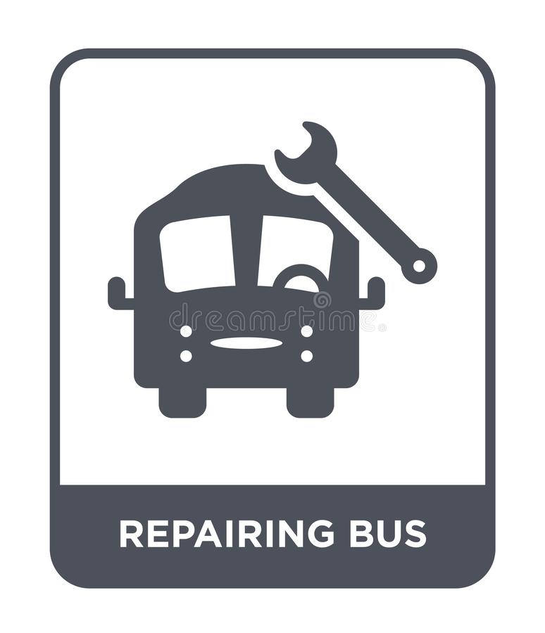 repairing bus icon in trendy design style. repairing bus icon isolated on white background. repairing bus vector icon simple and vector illustration