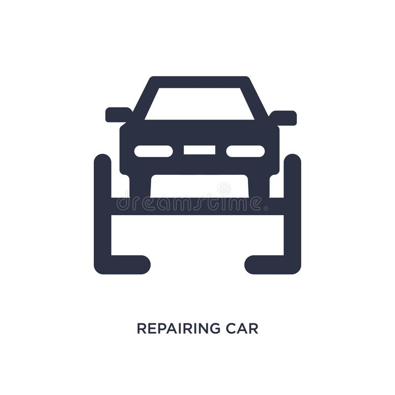 Repairing car icon on white background. Simple element illustration from mechanicons concept. Repairing car icon. Simple element illustration from mechanicons stock illustration