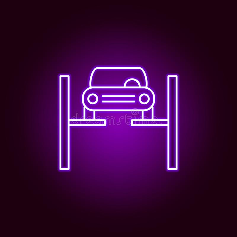 Repairing car outline icon in neon style. Elements of car repair illustration in neon style icon. Signs and symbols can be used. For web, logo, mobile app, UI royalty free illustration