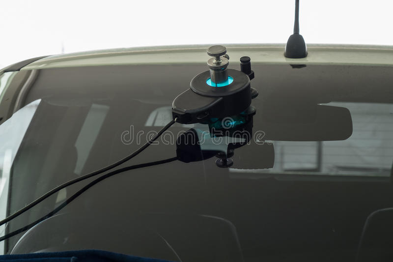 Repairing equipment for fixing of damaged windshield royalty free stock photography