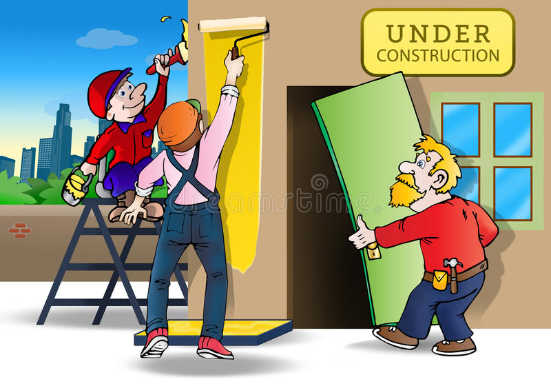 Repairing house. Illustration of a group handyman worker repairing and painting house