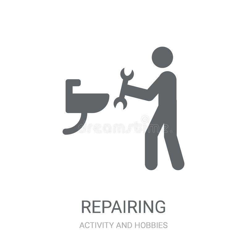 Repairing icon. Trendy Repairing logo concept on white background from Activity and Hobbies collection royalty free illustration