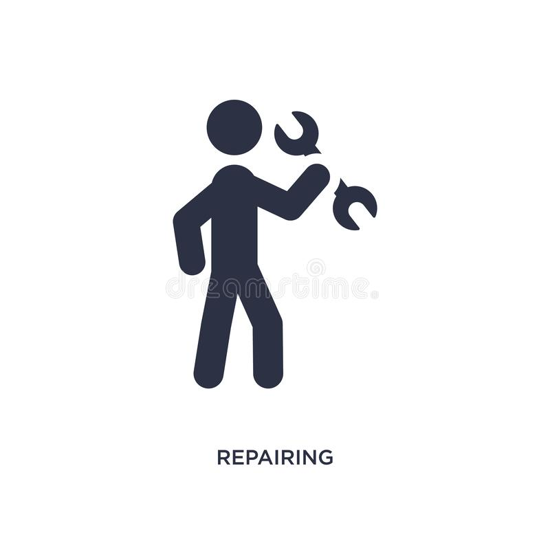 repairing icon on white background. Simple element illustration from activity and hobbies concept vector illustration