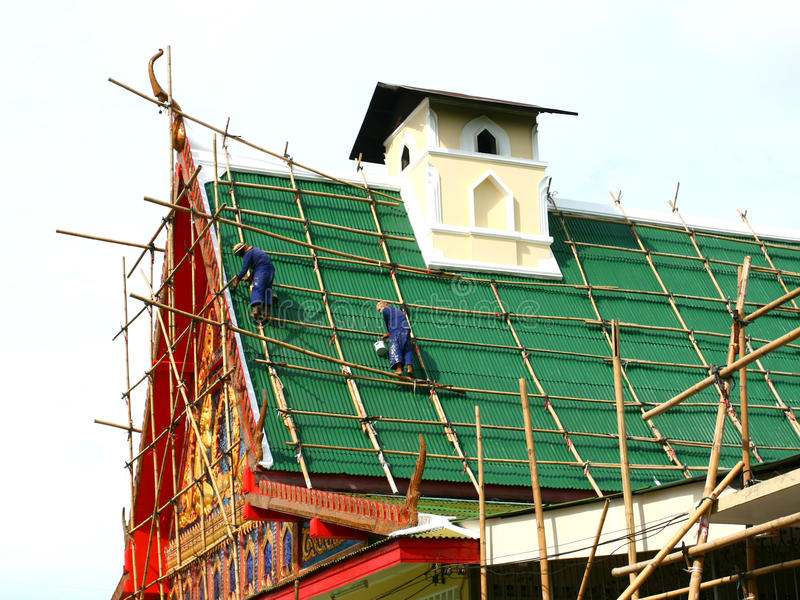 Repairing of old Buddhist church. Thailand stock photos