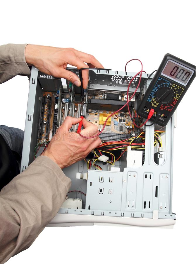 Repairing a PC isolated stock images