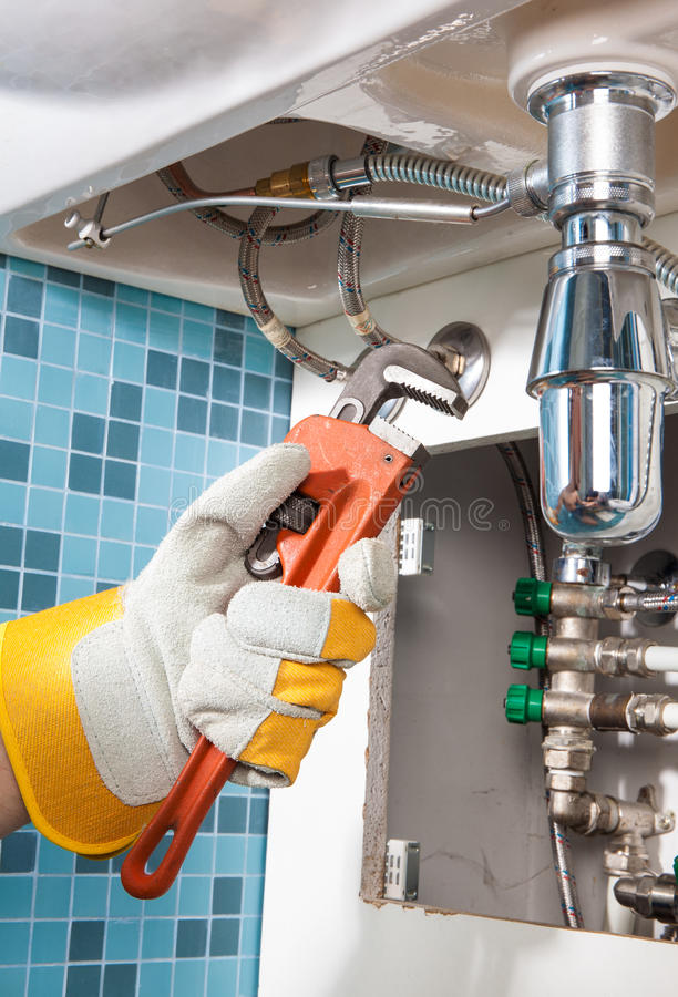 Repairing A Pipe Under Sink. Plumber Stock Photo - Image of open ...
