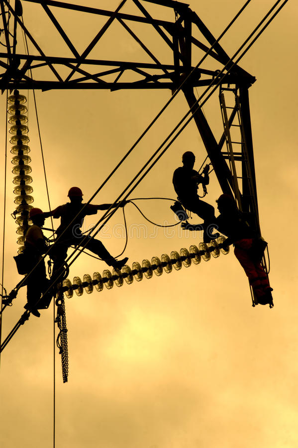 Repairing a power line royalty free stock photography