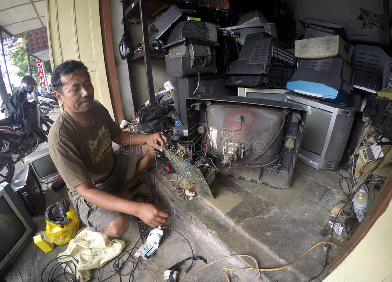 Repairing television royalty free stock photo
