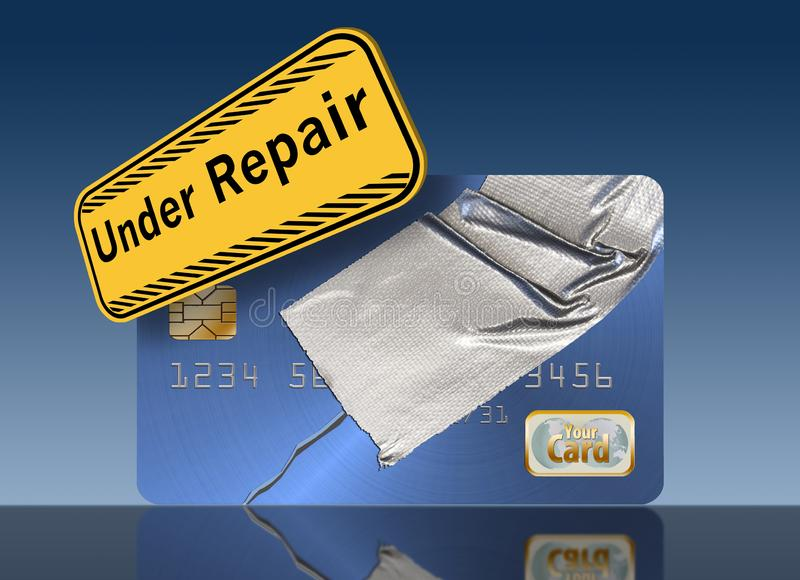 Repairing your credit history and score is the theme of this credit card repaired with duct tape. Illustration vector illustration