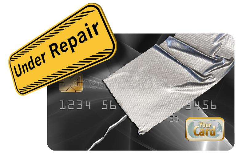 Repairing your credit history and score is the theme of this credit card repaired with duct tape. Illustration royalty free illustration