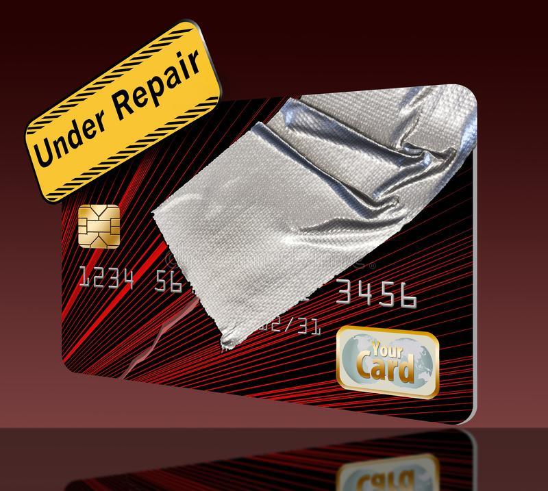 Repairing your credit history and score is the theme of this credit card repaired with duct tape. Illustration stock illustration