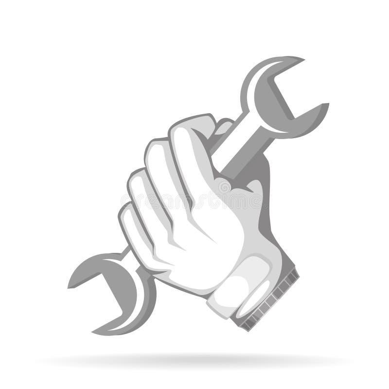 Repairman arbetare, faktotumhållskiftnyckel stock illustrationer