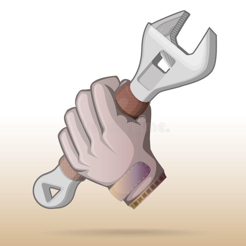 Repairman arbetare, justerbar skiftnyckel för faktotumhåll stock illustrationer
