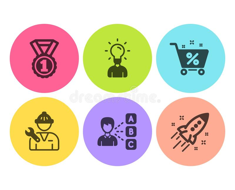 Repairman, Best rank and Opinion icons set. Education, Loan percent and Startup rocket signs. Vector royalty free illustration