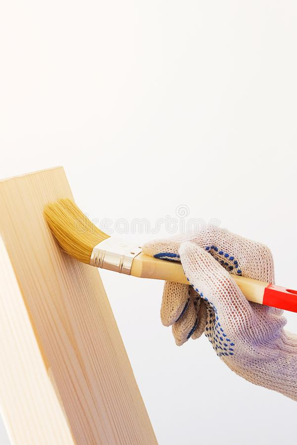 Repairman, carpenter, hired worker applies a protective varnish brush on a wooden Board. Women`s hands in protective gloves. Holding a Brush. The concept of stock photos