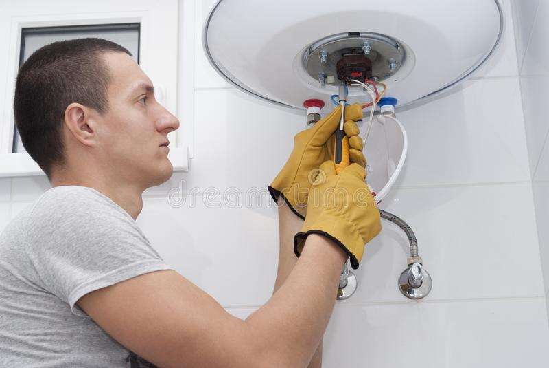 Repair electric boiler royalty free stock images