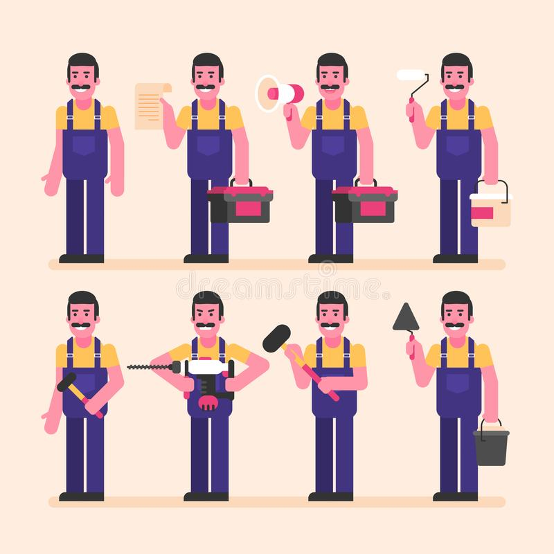 Repairman is half turned and holds various items. Character set vector illustration