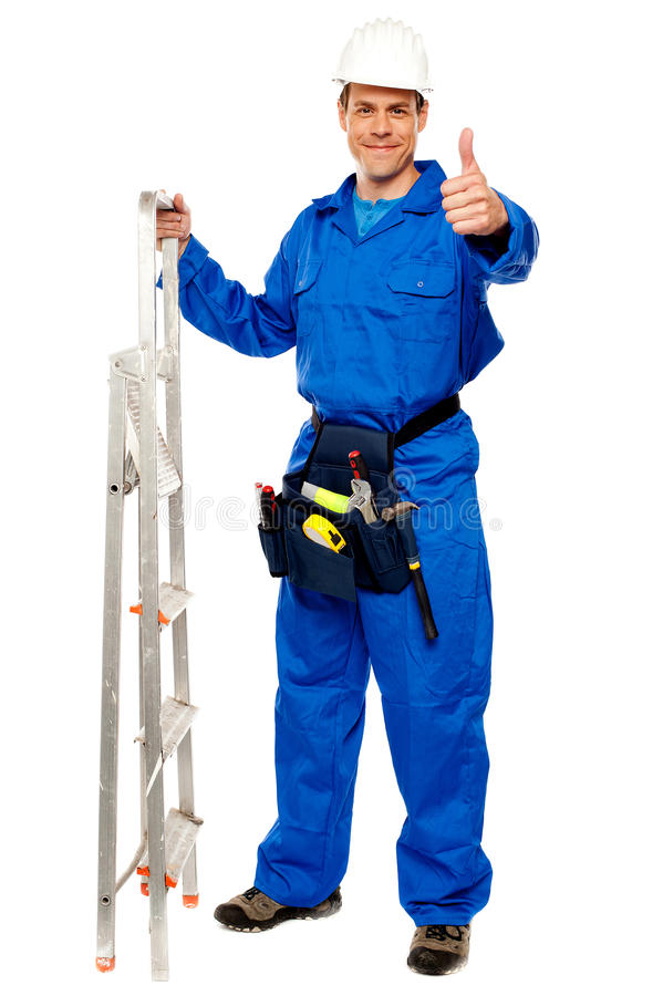 Download Repairman Holding Ladder And Showing Thumbs Up Stock Photo - Image: 25883748
