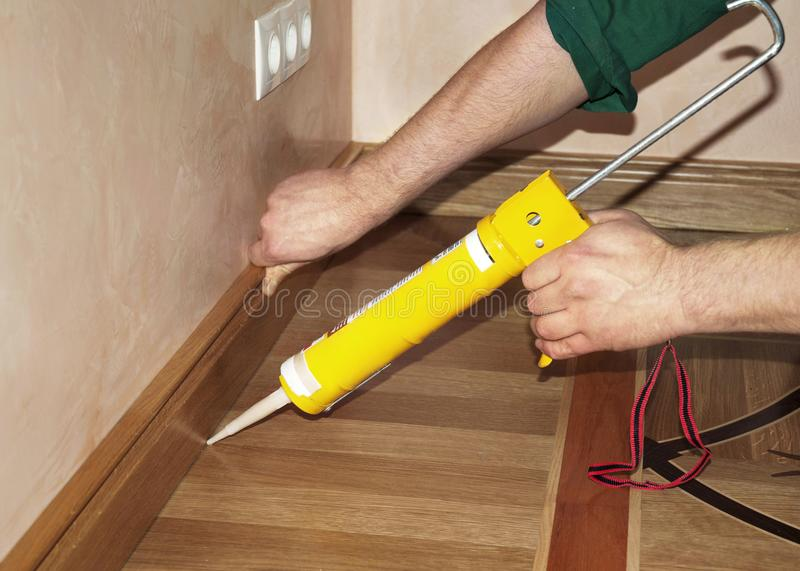 Repairman Installing Skirting Board Oak Wooden Floor with Caulking Gun Glue from Cartridge. Flooring with Wooden Batten Repair stock photo