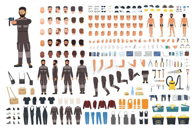 Repairman lub żołnierza tworzenia zestaw Plik męski postaci z kreskówki ciało wyszczególnia, stawia czoło, gesty, odziewa, pracuj ilustracja wektor