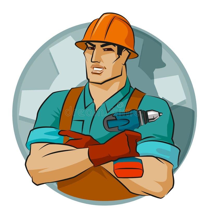 Repairman med skruvvapnet stock illustrationer