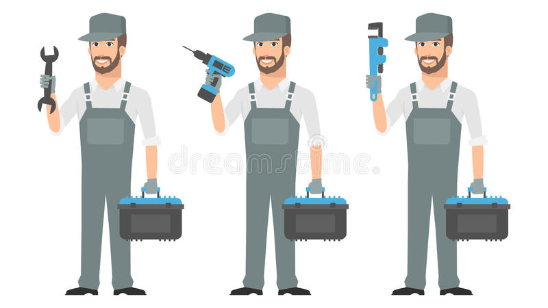 Repairman mienia narzędzi wyrwania śrubokręt royalty ilustracja