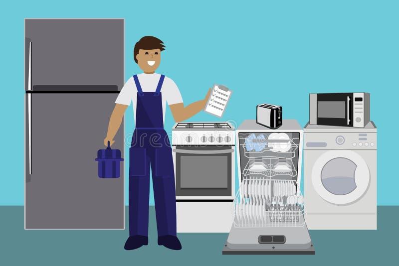 Repairman, mistrzowski naprawiania zmywarki do naczyń z śrubokrętem w kuchni również zwrócić corel ilustracji wektora mieszkanie ilustracji