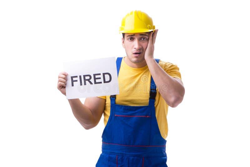 Repairman podpalał od jego pracy odizolowywającej na bielu zdjęcie stock