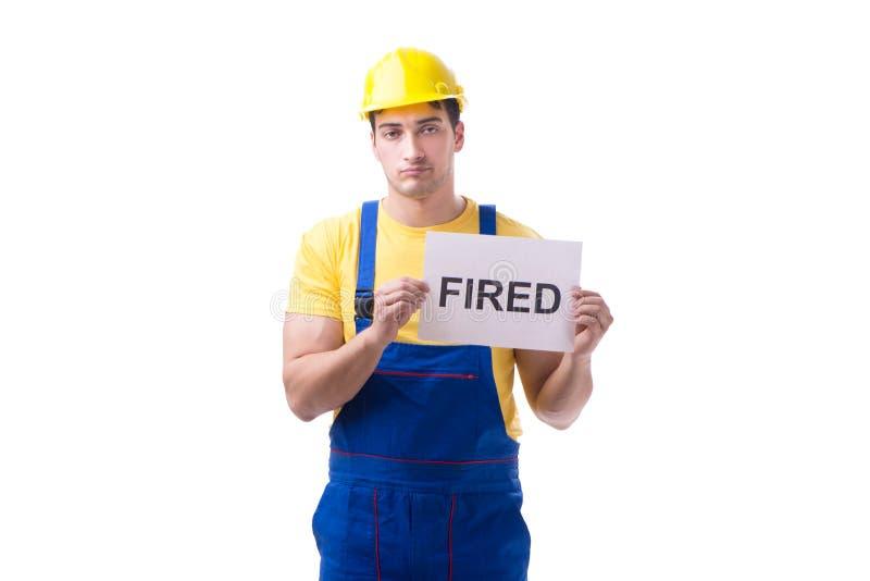 Repairman podpalał od jego pracy odizolowywającej na bielu obraz stock