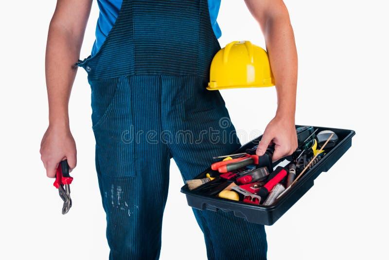 Repairman przygotowywający dla pracy odizolowywającej zdjęcie stock