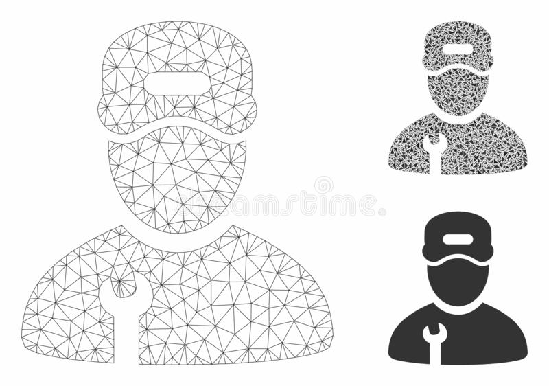 Repairman Vector Mesh Carcass Model and Triangle Mosaic Icon. Mesh repairman model with triangle mosaic icon. Wire carcass polygonal mesh of repairman. Vector stock illustration