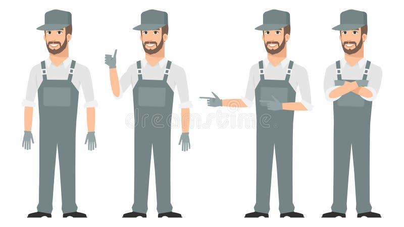 Download Repairman Wskazuje W Różnorodnych Pozach Ilustracja Wektor - Ilustracja złożonej z samiec, wyposażenie: 53788098