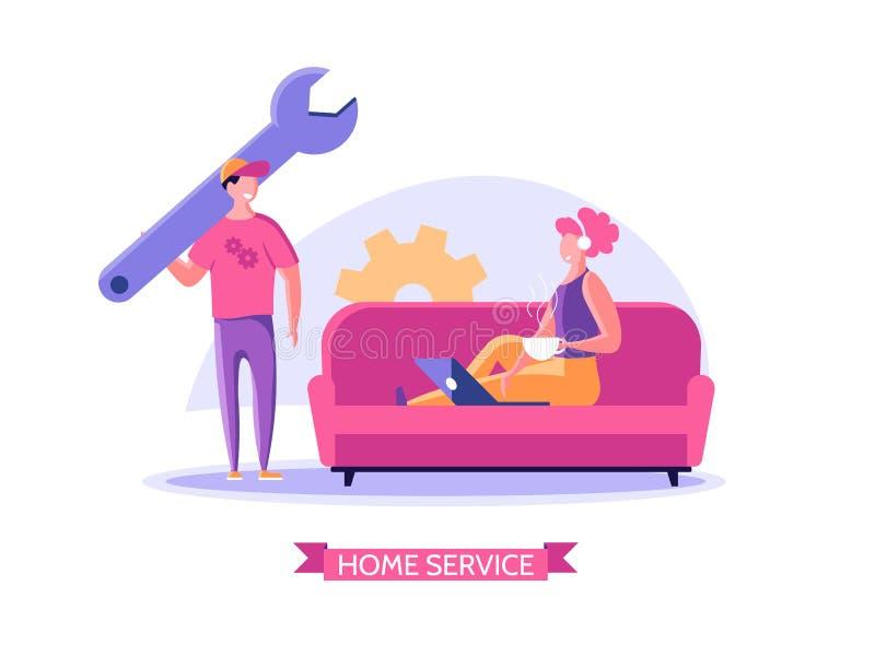 Repairmen, repair phone, fix app concept stock illustration