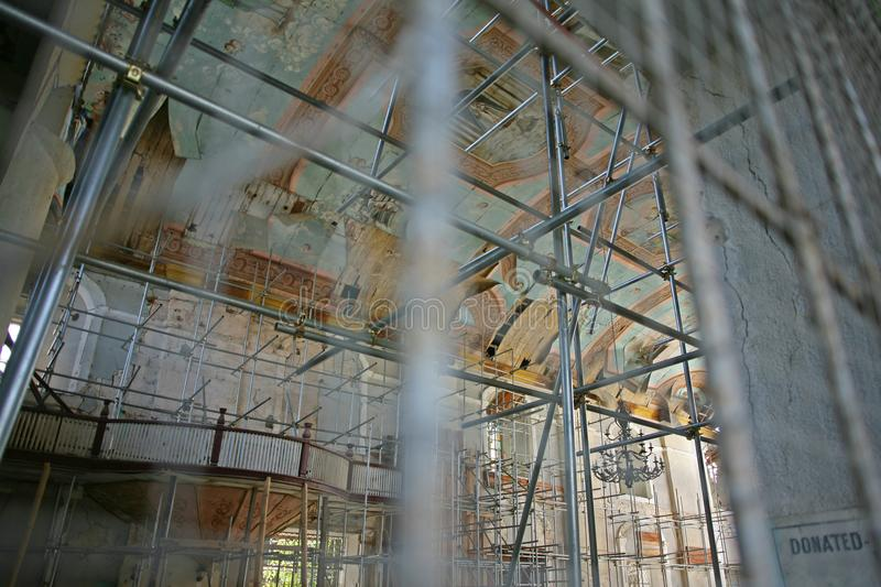 Earthquake Damaged Church Building Interior Scaffolding Stock Image