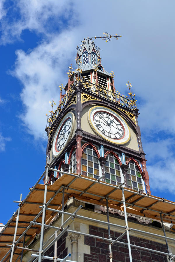 Repairs Start on Iconic Diamond Jubilee Clock Tower in Chrsitchurch. stock photos