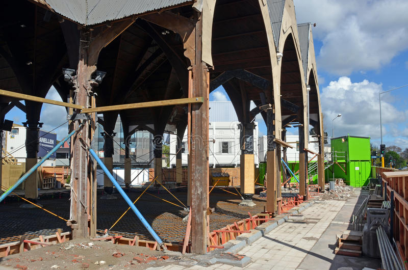 Repairs Started on Knox Presbytarian Church, Christchurch. stock images