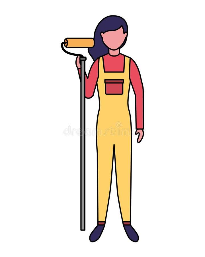 Repairwoman mit Rollenfarben-Berufsarbeit stock abbildung