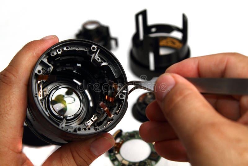 Repairwork sulla lente Barell fotografia stock libera da diritti