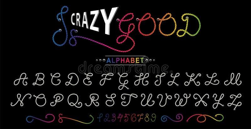 Repalfabet vektor för stil för stilsort för design för abc-alfabet färgrik Idérikt alfabet Exklusiv bokstavstypografi vektor illustrationer