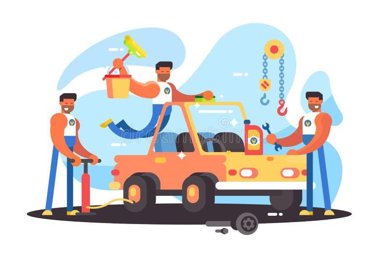 Reparação de automóveis completa ilustração do vetor