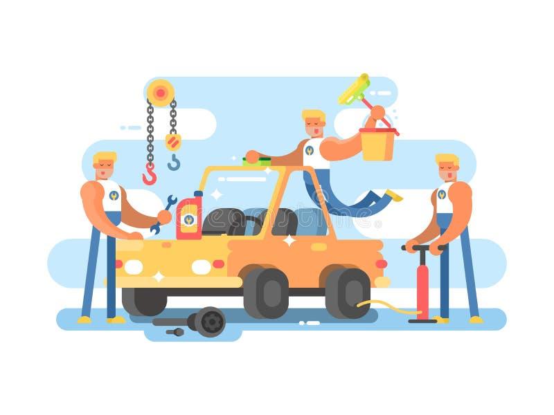 Reparação de automóveis completa ilustração stock